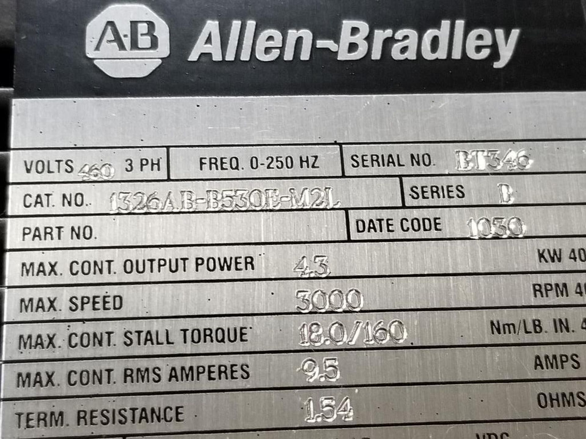 4.3kW Allen Bradley servo motor. 1326AB-B530E-M2L. 3PH, 460V, 3000RPM. - Image 2 of 4