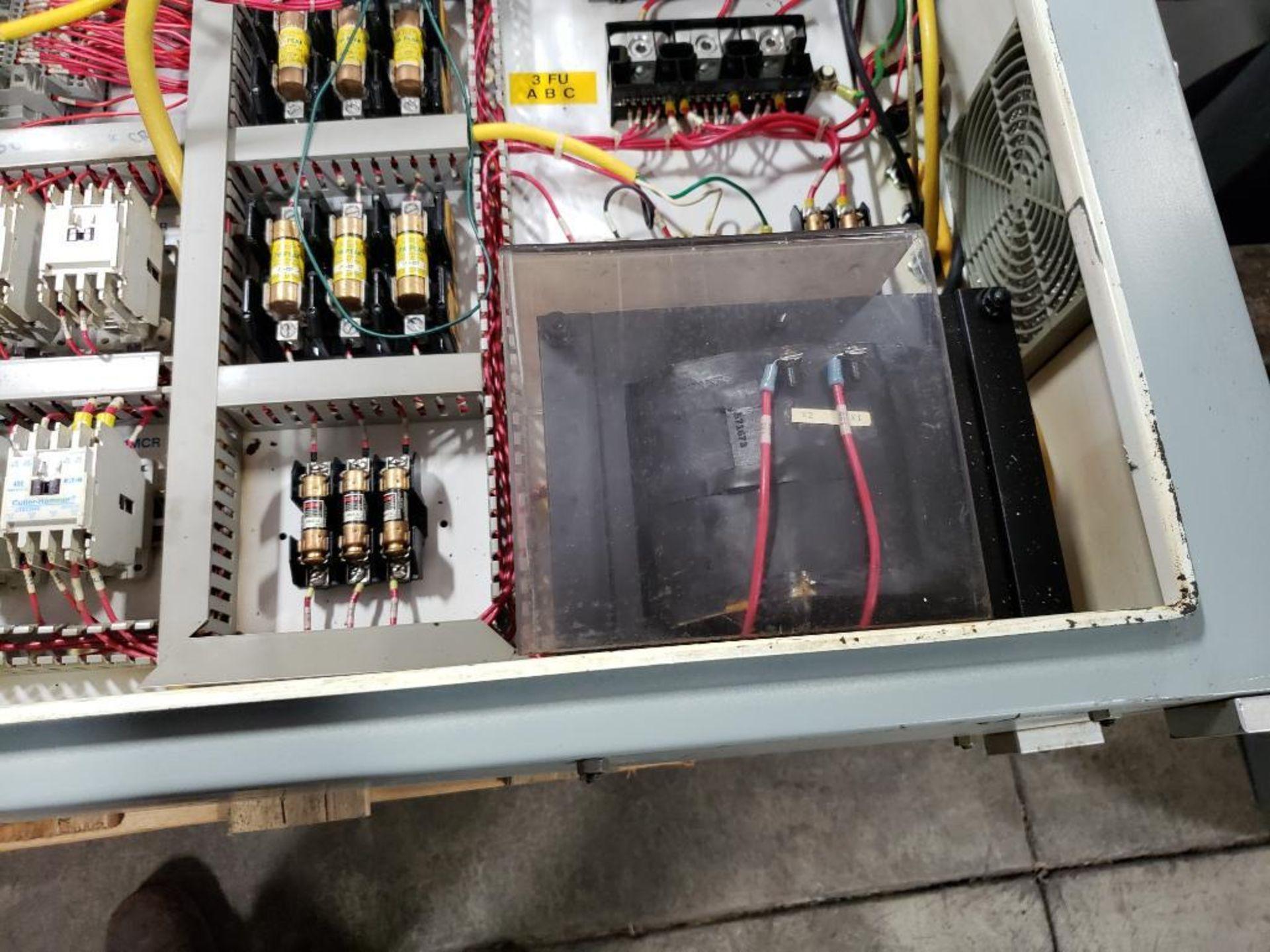 Chiller control cabinet. Hoffman enclosure, Cutler Hammer AF93AG0B007D drive, Allen Bradley drive. - Image 16 of 35