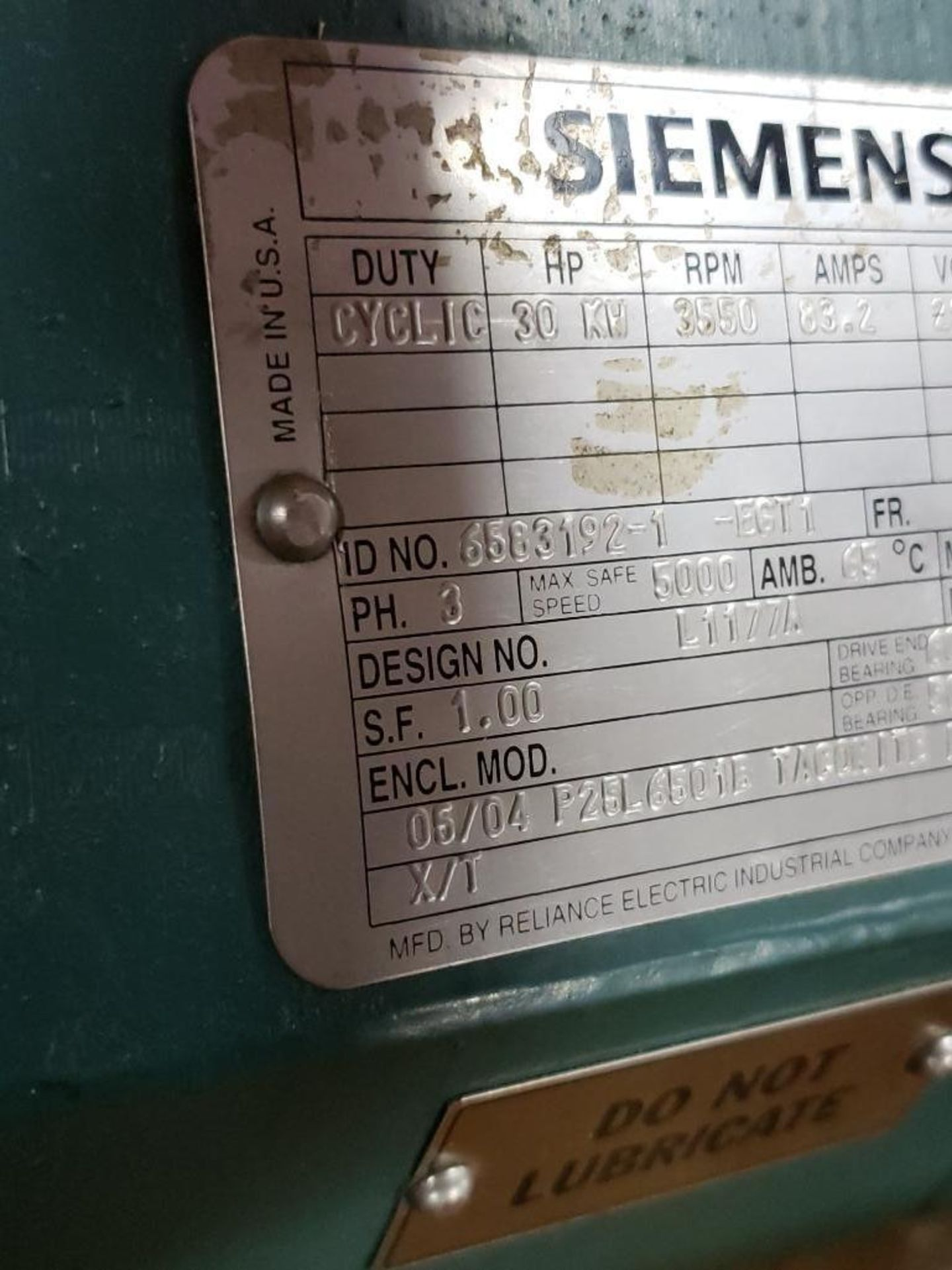 30kW Siemens 3PH Motor. 6583192-1-EGT1. 280V, 3550RM, L2564-Frame. - Image 3 of 7