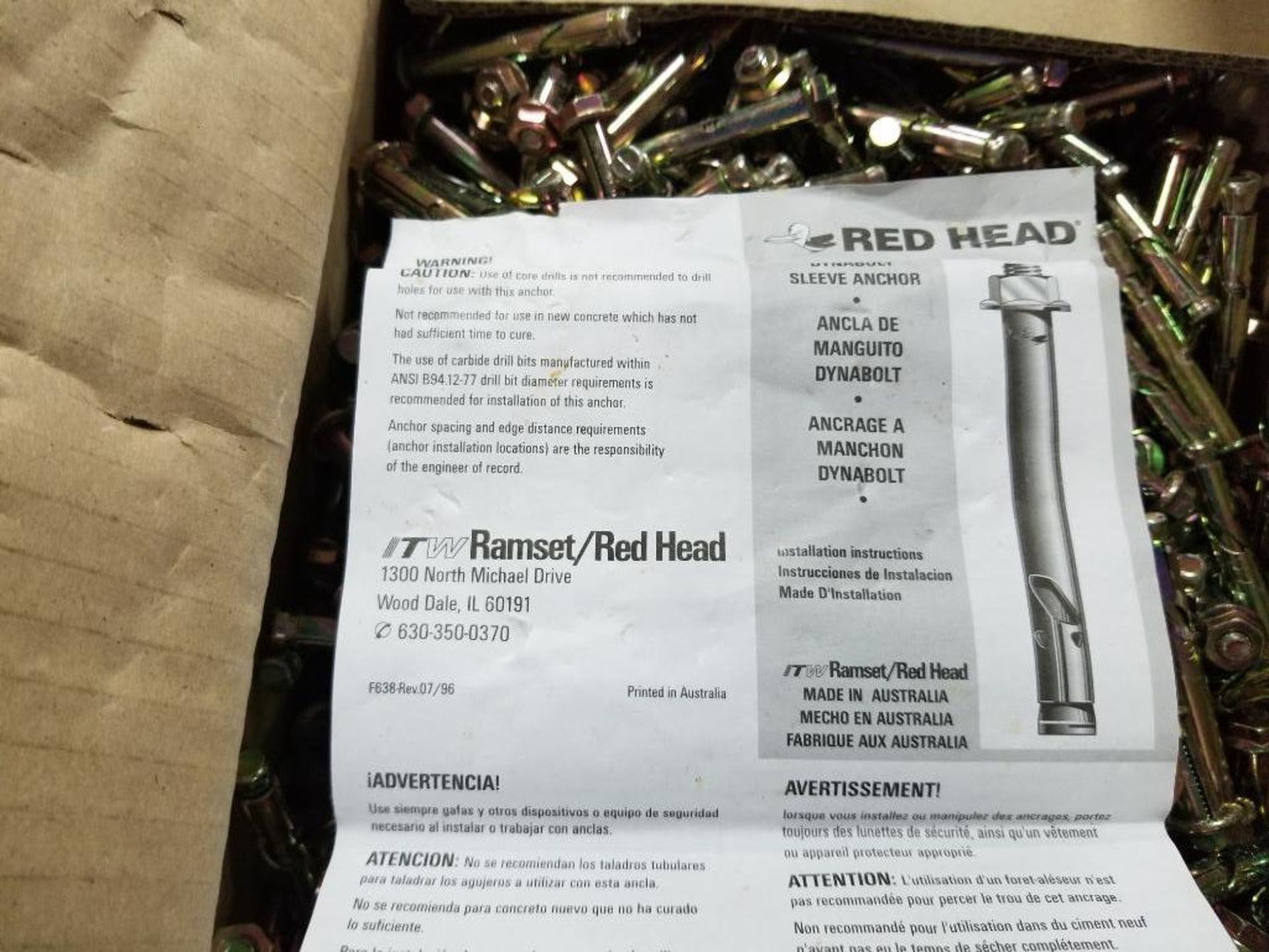 Lg Qty of ITW Ramset / Red Head Dynabolt sleeve anchor. - Image 3 of 3