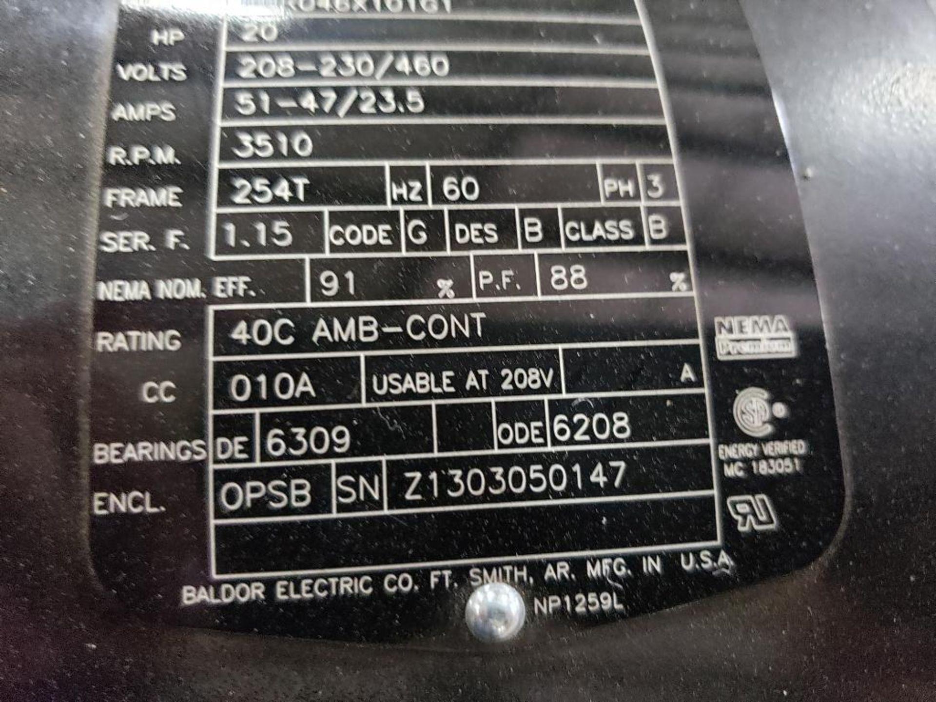 20HP Baldor Reliance 3PH SuperE Motor. 39R046X101G1. 208-230/460V, 3510RPM, 254T-Frame. - Image 5 of 7