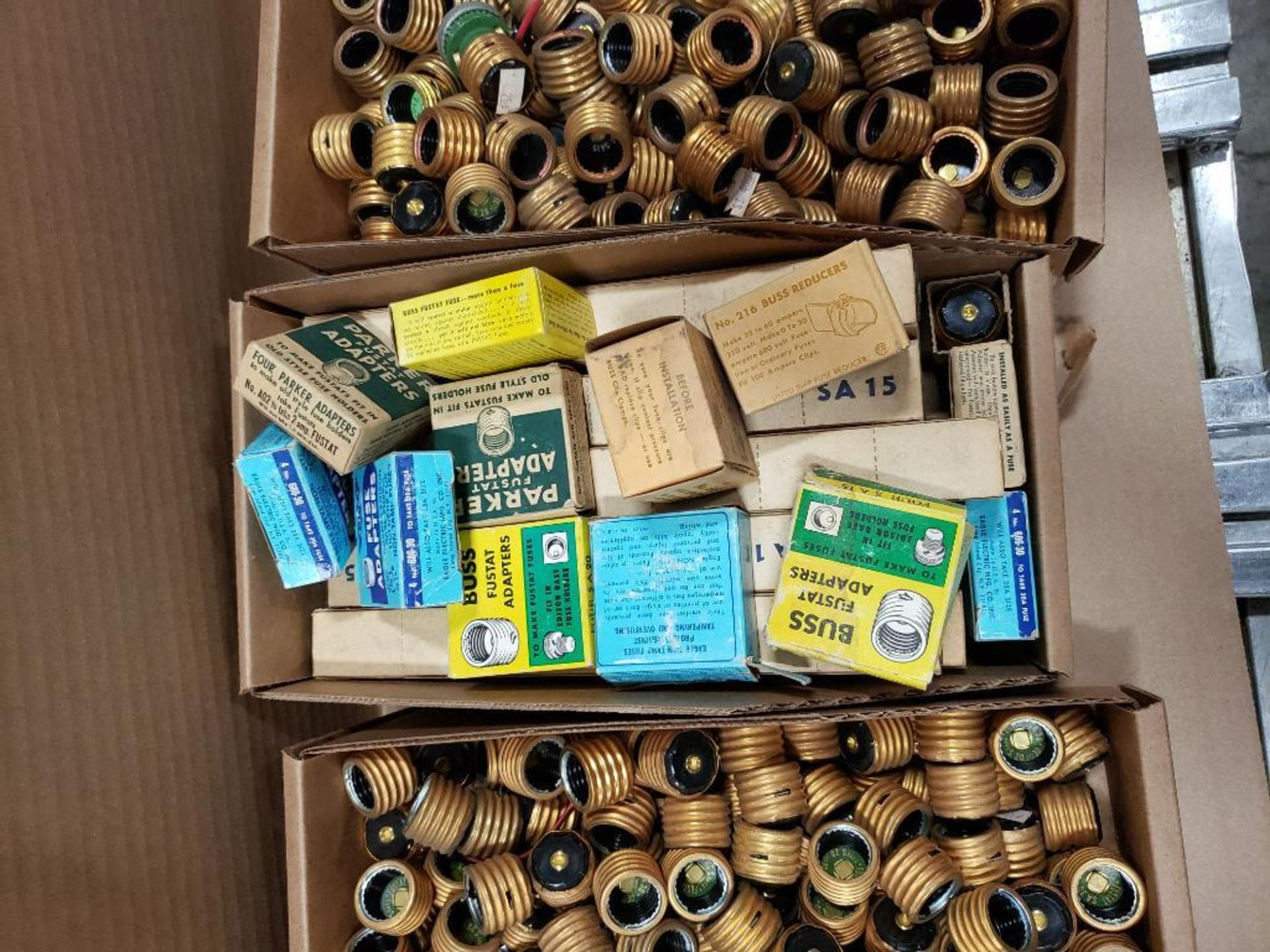 1/2 Pallet of assorted parts. Fuse adapters, plugs, switches. Pass & Seymour, Buss. - Image 3 of 7