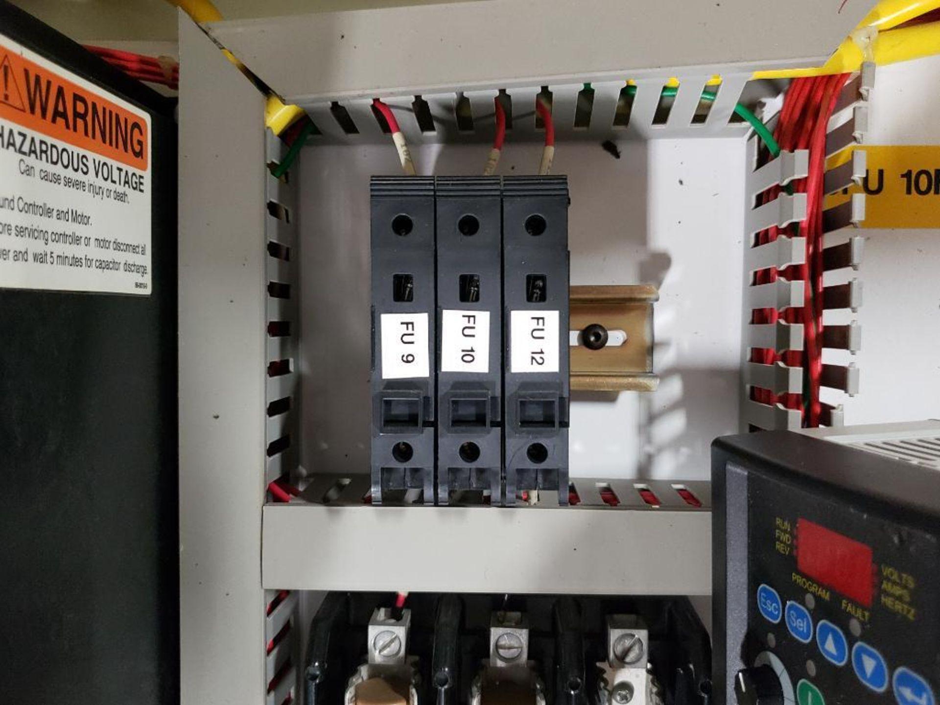 Chiller control cabinet. Hoffman enclosure, Cutler Hammer AF93AG0B007D drive, Allen Bradley drive. - Image 21 of 35