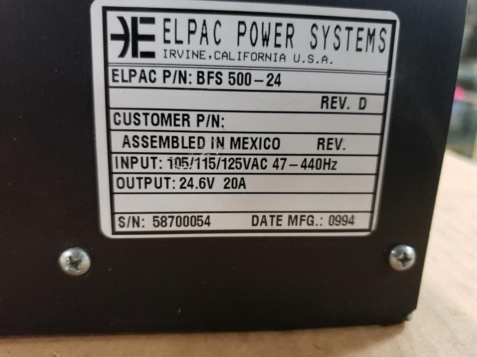 Elpac Power Systems BFS500-24 Power supply. - Image 2 of 5