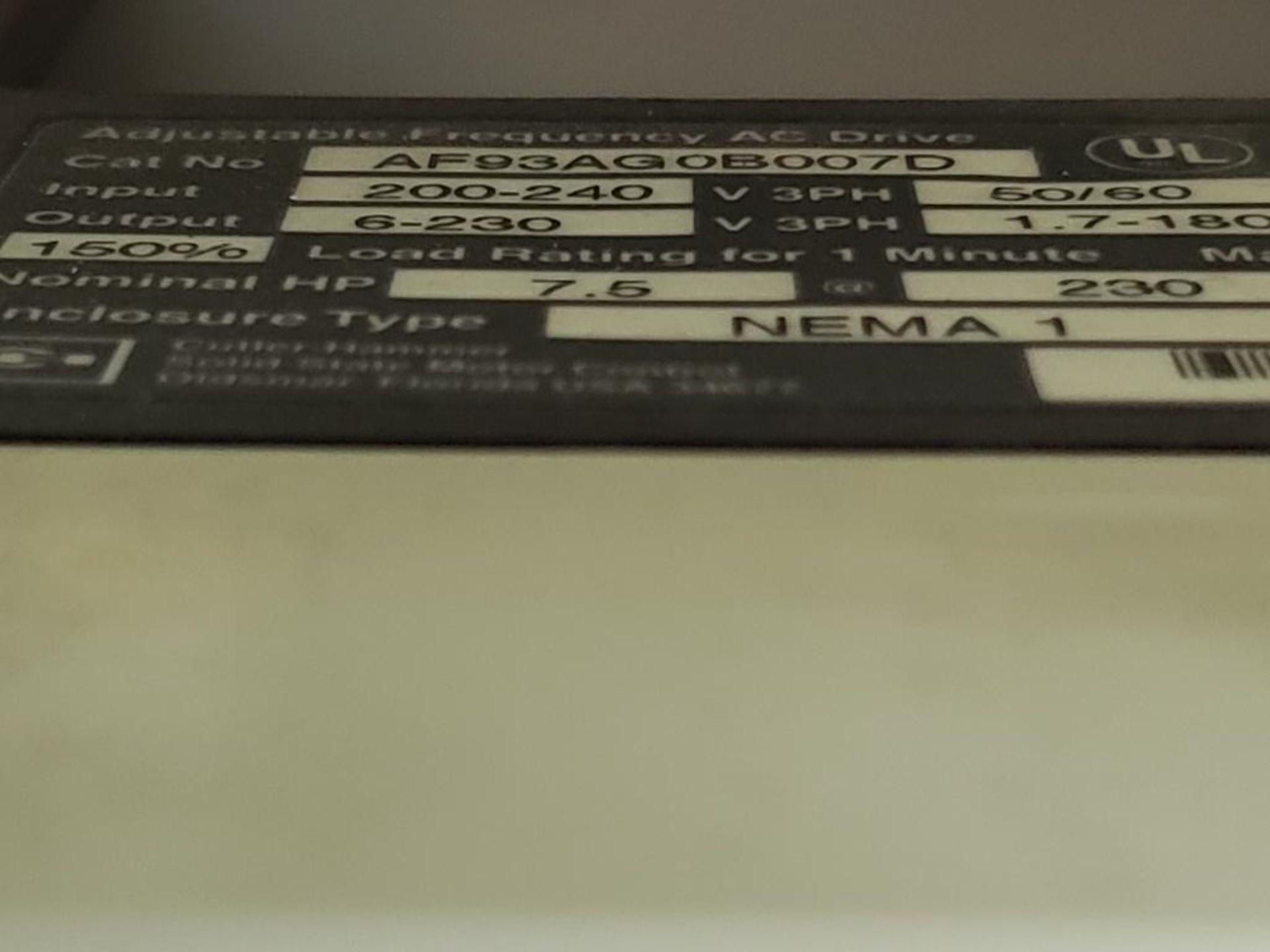 Chiller control cabinet. Hoffman enclosure, Cutler Hammer AF93AG0B007D drive, Allen Bradley drive. - Image 19 of 35