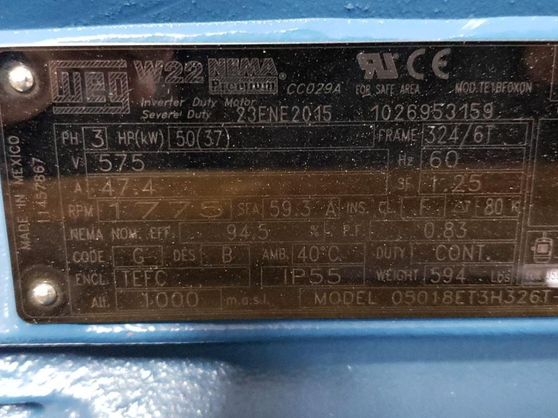 50HP WEG 3PH Inverter Duty Motor. 23ENE2015. 575V, 1775RPM, 324/6T-Frame. - Image 3 of 8