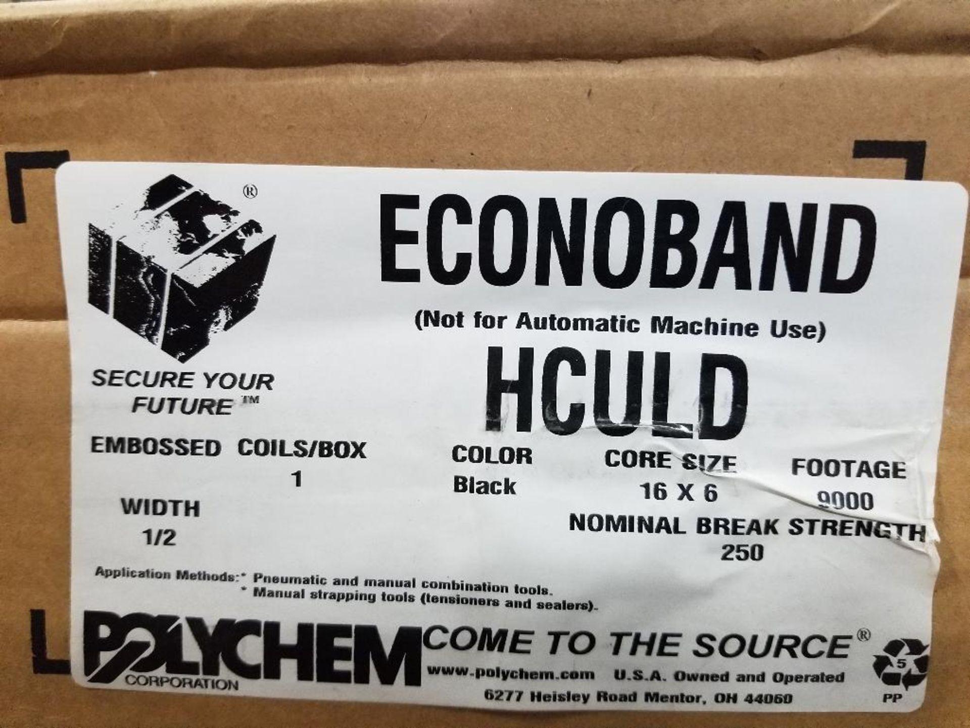"Qty 4 - Polychem Econoband HCULD 9000Ft black banding. 1/2"". - Image 2 of 2"