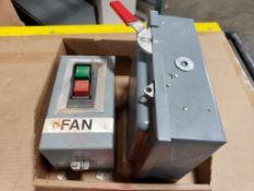 Qty 2 - Assorted electrical. Allen Bradley start/stop button station, Cutler hammer 30AMP on/off.
