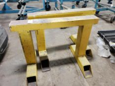 Pair of metal saw horse legs. 48x36x35. LxWxH.