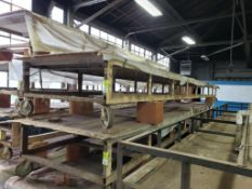 """Rolling material vacuum table. 27FT x 55"""" x 28"""". LxWxH."""