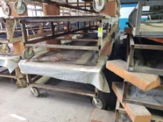 """Rolling material cutting table. 27FT x 55"""" x 28"""". LxWxH."""