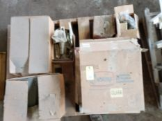 Pallet with assorted hinges and latches. New old stock.