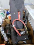 Assorted pneumatic tools.