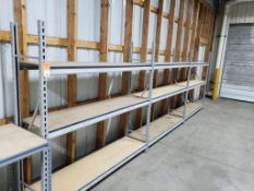3 sections of shelving. 72in x 18in x 72in per section. LxDxH.