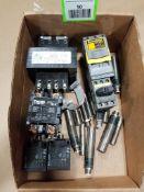 Assorted electrical. Bussmann, Balluff, ACME transformer, IFM.