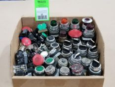 Large assortment of electrical switches, push button, keyed, selector switch.