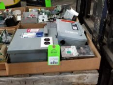 Assorted electrical disconnects, transformer. Square-D, Mann+Hummel.