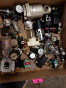 Assorted flow control. Regulators, filters, oilers. Watts, SMC, Laserstar.