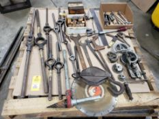 Pallet of assorted tools. Pipe cutters, wrenches, benders, inspection.