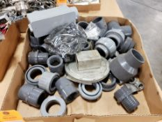 Assorted pipe conduit fittings, box.