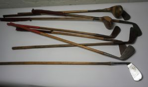 Lot of Vintage Hickory Shafted Gold Clubs, To include Metal Mid Irons and Two Wood Drivers, And a