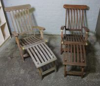 Two Folding Ships Style Deck Chairs, Both Having Brass Mounts, 94cm, 97cm high, (2)