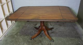 Regency Style Mahogany and Brass Strung Sofa Table, Raised on Reeded Quadrapartite Supports, 77cm