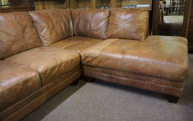 Brown Leather Corner Sofa (Approx. 2.2m x 1.9m x 0.95m Deep x 0.9m High)