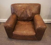 Brown Leather Armchair, 84cm high