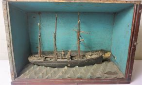 Model Boat, In a Wood Display Case, Named Dunstoneorough, Boat 20cm high, 36cm wide