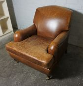 Brown Hide Upholstered Armchair, 90cm highCondition reportProminent wear marks to arms, seat and