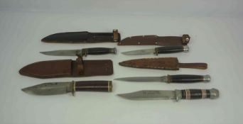 Four Vintage Military Style Hunting Knives / Daggers, Two examples stamped made in Sheffield, Blades