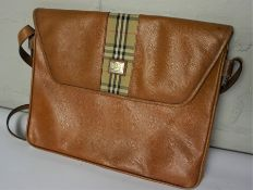 Burberrys Tan Leather Satchel, 24cm high, 30cm wide