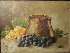 """MB """"Still Life of Grapes"""" Oil on Canvas, Monogrammed and Dated 1930, 29cm x 38.5cm"""