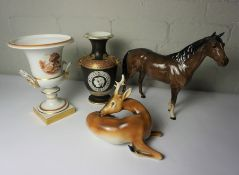 Large Beswick Figure of a Horse, 30cm high, Also with a Chech Porcelain Figure of a Deer, Pink