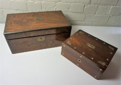 Victorian Walnut and Brass Bound Writing Slope, Having a Fitted Interior, With a Victorian