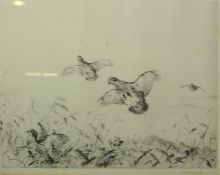 """Winifred Austen (1876-1964) """"Game Birds in Flight"""" Drypoint, Signed in Pencil, 22.5cm x 29cm"""