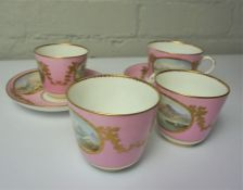 Six Pieces of Matching China Cups and Saucers, circa early 20th century, Having Scottish Pictoral