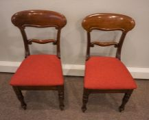 Set of Six Victorian Mahogany Dining Chairs, Having a Tablet top above Later Fabric drop in Seats,
