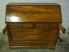 George III Mahogany Writing Bureau, Having a Fall Front enclosing Maple Fronted Drawers and Pigeon