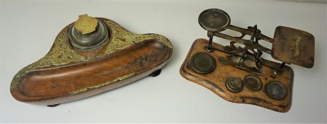 Victorian Walnut and Brass Bound Desk Stand, Having a Glass Inkwell, Raised on Bun feet, 5cm high,