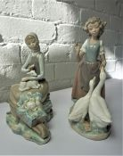 Lladro Figure of a Girl Holding a Lamb, 24cm high, With a similar Nao Figure, 27cm high, (2)