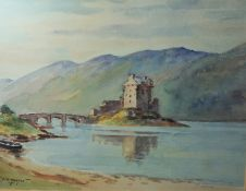 """J.K. Maxton """"Castle with a Bridge to the Foreground, Hills to the Background"""" Watercolour, Signed,"""
