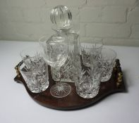 Crystal Presentation Decanter with Crystal Glasses, On a Fitted Tray