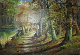 """British School """"Path in the Woods with Lake to the Background"""" Oil on Canvas, Signed Indistinctly,"""
