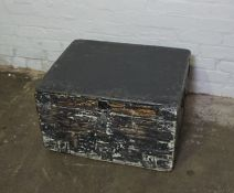 Painted Pine and Metal Bound Chest, 39cm high, 66cm wide, 55cm deep