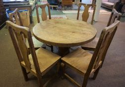 Pine Circular Breakfast Table, 75cm high, 119cm wide, With a Set of Six Pine Chairs, 107cm high, (