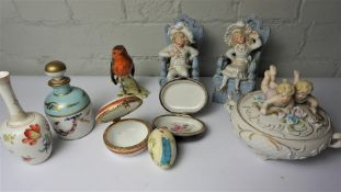 Quantity of Decorative Porcelain and China, To include Figures, Limoges Scent Bottle, Majolica