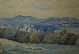 """William Heatlie (1848-1892) """"Melrose Abbey"""" Watercolour, Signed, 20cm x 29.5cm"""