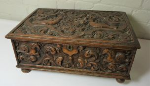 """George II Carved Oak Bible Box, """"The Blake Box"""" Previously owned by Sir Michael Blake of Tilmouth,"""